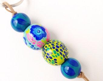 Hand Painted Wood Bead Keychain - Wonderland