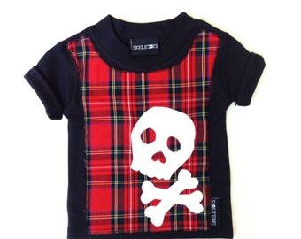 Skeletots baby boy tartan skull t-shirt rocker metal goth