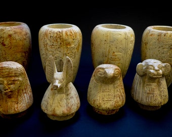 Ancient Egyptian Canopic Jars, burned soap stone/ for mummification