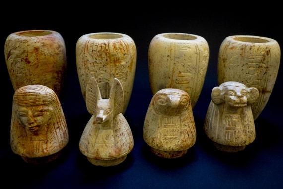 Ancient Egyptian Canopic Jars Burned Soap Stone For