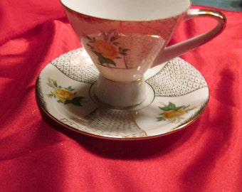 Sterling  Silver China Cup and Saucer with Yellow Roses and Gold Decoration