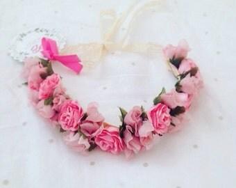 Pink vintage Flower Crown