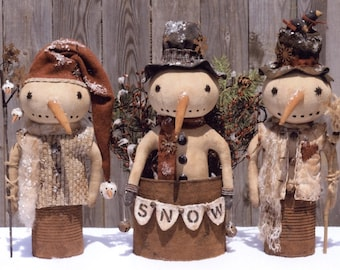 "PATTERN ""Prim Canned Snowman"" primitive Snowmen in rusty tin cans"