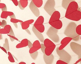 Valentine's Day heart garland, Red heart garland, paper garland