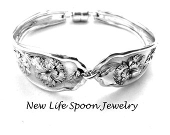 "Spoon Bracelet 1908 ""Carnation"" Handmade Vintage Bracelet Antique Flatware Spoon Handles Mother's  Day Wedding Gift Fork Jewelry  --193"