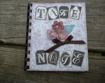 "Small Pink ""Take Note"" Note Book"