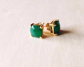 Green Onyx earrings and silver gold plated