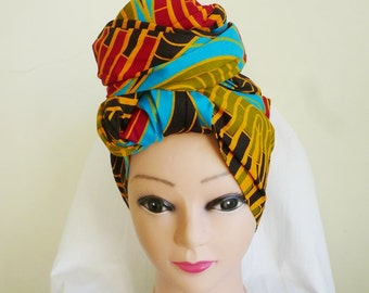 Red and Gold Multi Ankara Head wrap, DIY head tie, Stylish African head scarf, Fabric hair accessory – Made to Order