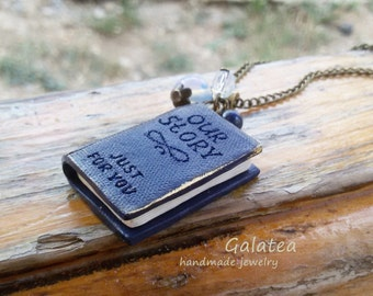 Mini Book necklace Book lovers jewelry Miniature book pendant Custom Tiny book Personalized Book necklace custom book necklace Romantic gift
