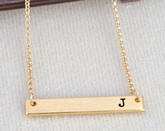 Letter J Necklace Initial Alphabet 26 Personalized A to Z Handmade Fine Brass Horizontal Bar Necklace Monogram Name Jewelry Gift BN493G-J