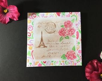 Watercolor Paris Collage Blank Card
