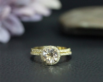14K Yellow Gold Engagement Ring Set Handmade 7mm Round Natural Morganite Ring Set Solid 14K Gold Ring Set Wedding Ring Set Promise Ring