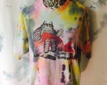 Tie Dye Crazy Shirt Hawaii Cat Tee Size Large