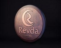 Metal logo sign, company logo sign, custom logo sign. logo in copper and wood, 3d logo sign