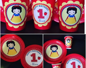 Snow white plates and cups- I can do any theme!