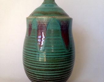 Turquoise Handmade lidded ceramic Jar8