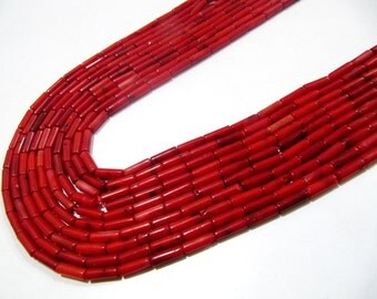 Amazing Red Coral Italian Beads / Tube Shape Beads Size 4x8mm / Sold per Strand of 16 Inches Long/ Smooth Red Coral Beads/Best Quality Bead