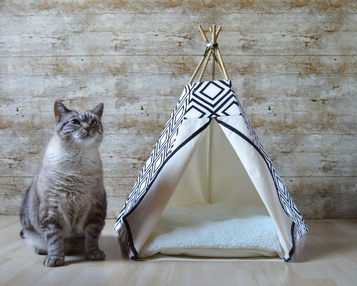 cat bed cat teepee dog teepee with cushion geometric black. Black Bedroom Furniture Sets. Home Design Ideas