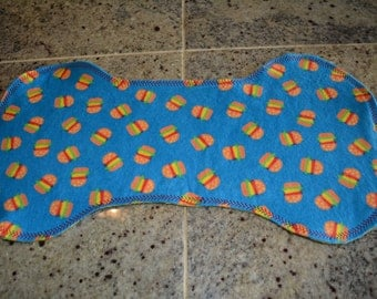 Flannel Burp Cloth - Blue w/Hamburgers