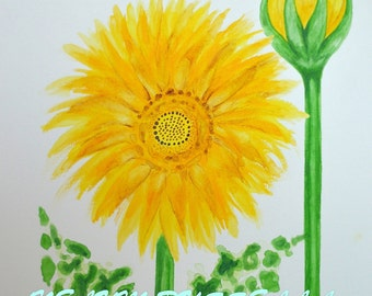 Flower and Bud-Giclee print of Watercolor painting
