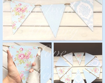 Floral duck egg blue wooden bunting