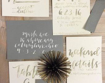 Handwritten Calligraphy Wedding Invitation Suite with Watercolor