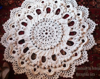 Crochet carpet. 43 in. Round floor lace living room mat. Wedding birthday gift, area rug 3D