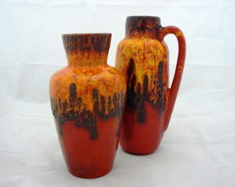 West germany Seventies Fat Lava Scheurich 2 vases orange/red/black