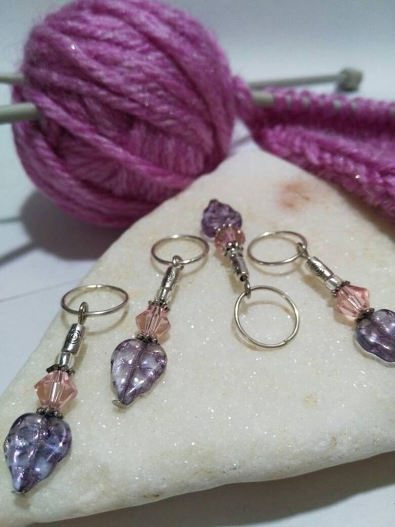 Crochet Stitch Markers Uk : Stitch markers for knitting and crochet, glass beads purple leaf and ...