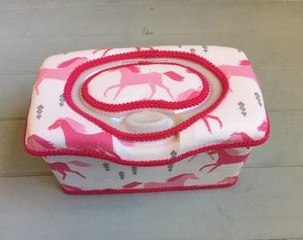 Horses in Pink, Wipe Case, Wipes Case, Wipes Holder, Baby Wipe Case, Baby Wipes Case, Wipes Container, Nursery Wipe Case, Nursery Decor