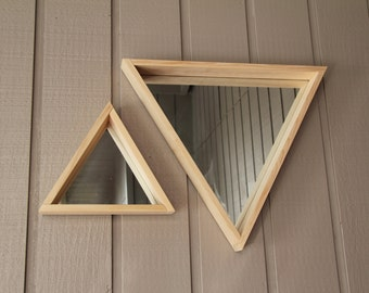 Large Wooden Triangle Mirror - FREE SHIPPING
