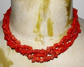 Triple Strand Mediterranean Red Coral Bead Necklace