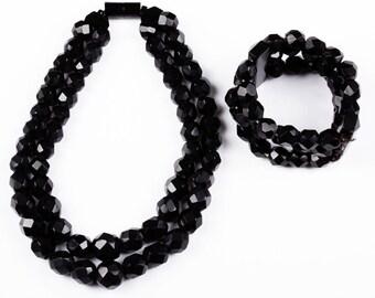 Monies Black Horn Carved Necklace and Bracelet Set