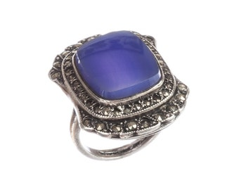 Art Deco Sterling Silver Blue Chalcedony Ring