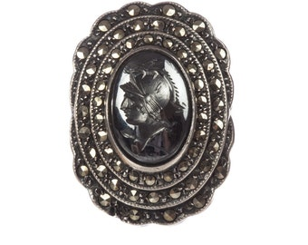 Art Deco Sterling Silver Perseus Carved Hematite Intaglio w/ Marcasite Pave