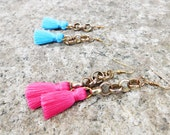 Tassel Earrings With Chain Detail / Pink Tassel Earrings / Blue Tassel Earrings / Small Tassel Earrings