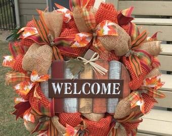 Fall wreath, Thanksgiving wreath, harvest wreath, fall berries, fall decor, orange wreath, burlap wreath for fall