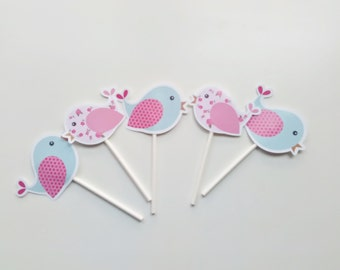 Chic garden and birds cupcakes toppers  Shabby Chic party  Birds party