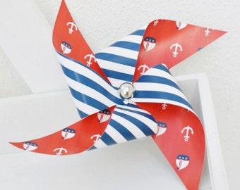 Set of 3 nautical decorative paper pinwheels   Sailor's party