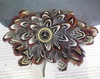 Pheasant Feather Hair Clip Fascinator Barrette Clip with Cog Centre and Chain