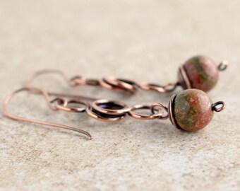 Wire Wrapped Earrings - Fall Jewelry - Fall Earrings - Unakite Earrings - Wire Wrapped Jewelry - Boho Earrings - Bohemian Earrings