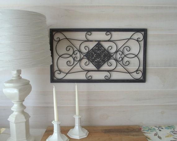 wrought iron metal wall decor black metal wall art shabby. Black Bedroom Furniture Sets. Home Design Ideas