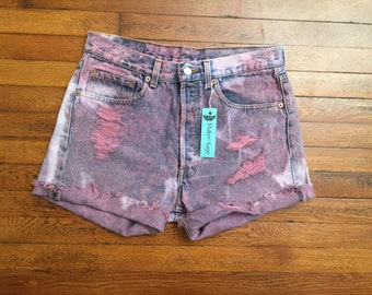 Vintage High Waist Levi Jean Shorts, Festival Shorts, 90s Jean Shorts, Hand Distressed and Dyed
