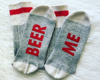Beer Me socks, If You Can Read This Socks, Christmas Gift, Wool Socks, Funny Gift Birthday Present, Beer Lover Socks, Warm Winter Stockings