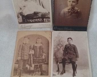 """4- cabinet photos of children 6 -1/2""""x4-1/4"""" 1800's"""