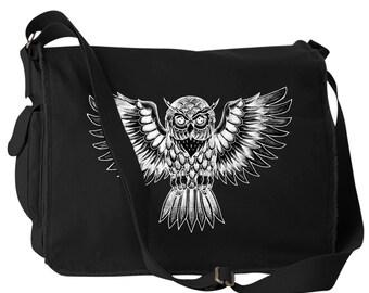 Owl Canvas Laptop Bag Messenger Bag
