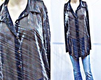 SHEER SILVER,BLACK Shine...Long Flowing size 2X...90's blouse,Funky Fab