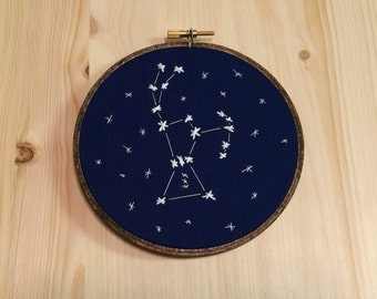 Zodiac Star Constellation Embroidery Hoop Wall Art