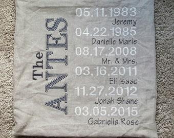 Family Milestone 16x16 Embroidered Pillowcase