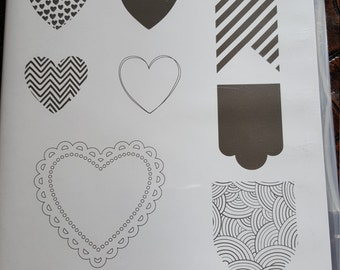STAMPIN' UP! *Hearts a Flutter* Like New. 8 rubber stamps ready for mounting.